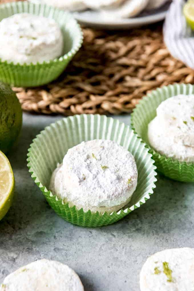 An image of powdered sugar covered lime cookies.