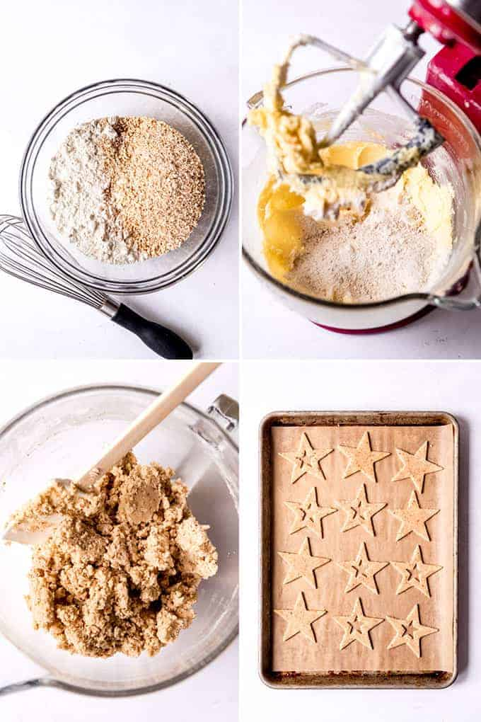 A collage of images showing how to make linzer cookies.