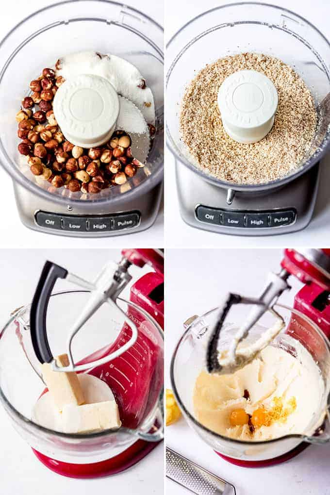 A collage of images showing how to make linzer cookie dough.