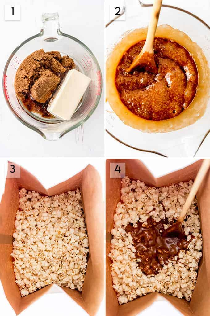 A collage of images showing how to make microwave caramel popcorn.