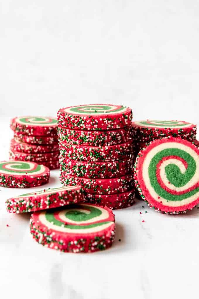 An image of stacks of pinwheel sugar cookies.