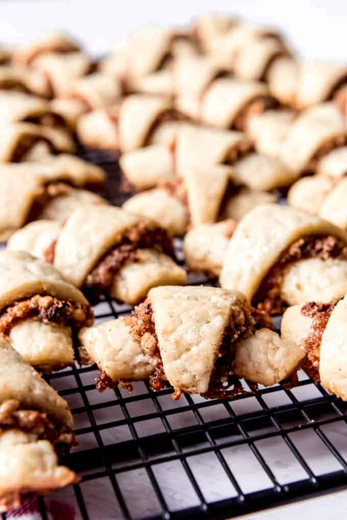 An image of rugelach cookies on a wire rack.