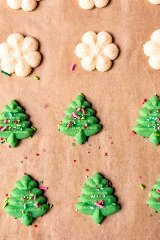 An image of green Christmas tree shaped spritz cookies.