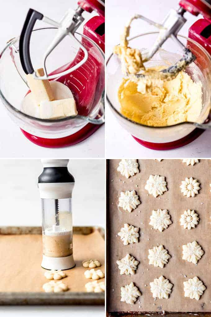 A collage of images showing the steps for how to make spritz cookies.
