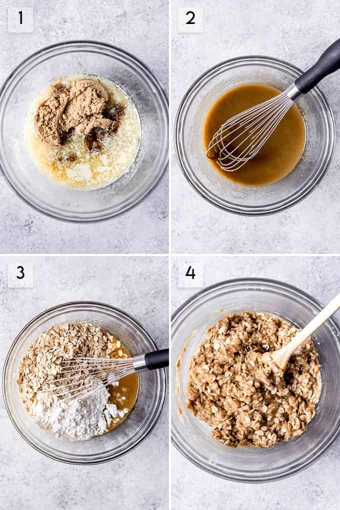 A collage of images showing the steps for how to make the oatmeal cookie layer of carmelita bars.