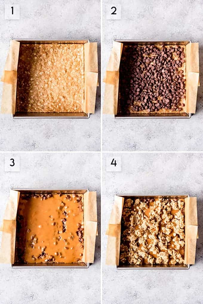 A collage of images showing how carmelita bars are layered with an oatmeal cookie layer, chocolate chips, and melted caramel.