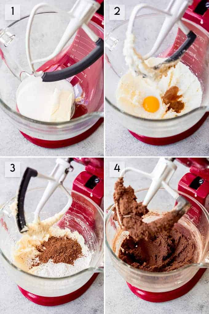 A collage of images showing how to make chocolate thumbprint cookie dough.