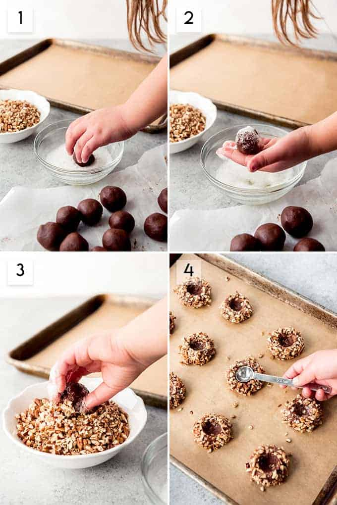 A collage of images showing the steps for how to make chocolate thumbprint turtle cookies.