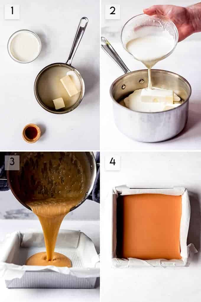 A collage of images showing the steps for how to make caramel.