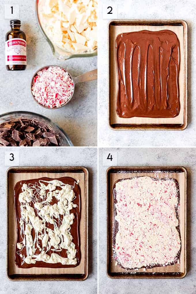 A collage of images showing the steps for how to make peppermint bark.