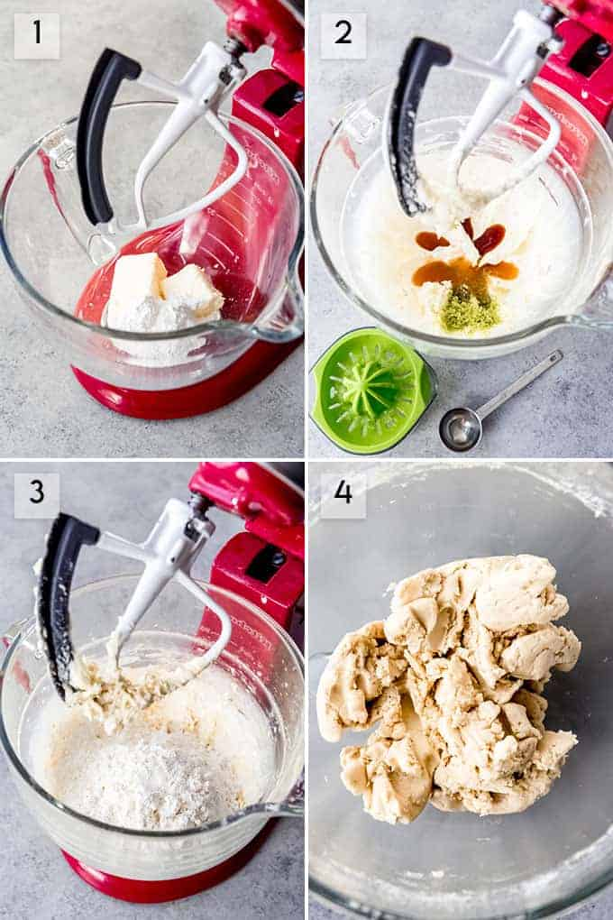 A collage of images showing how to make lime meltaway shortbread cookies.