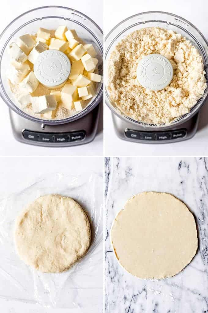 A collage of images showing how to make rugelach dough in a food processor with cream cheese.