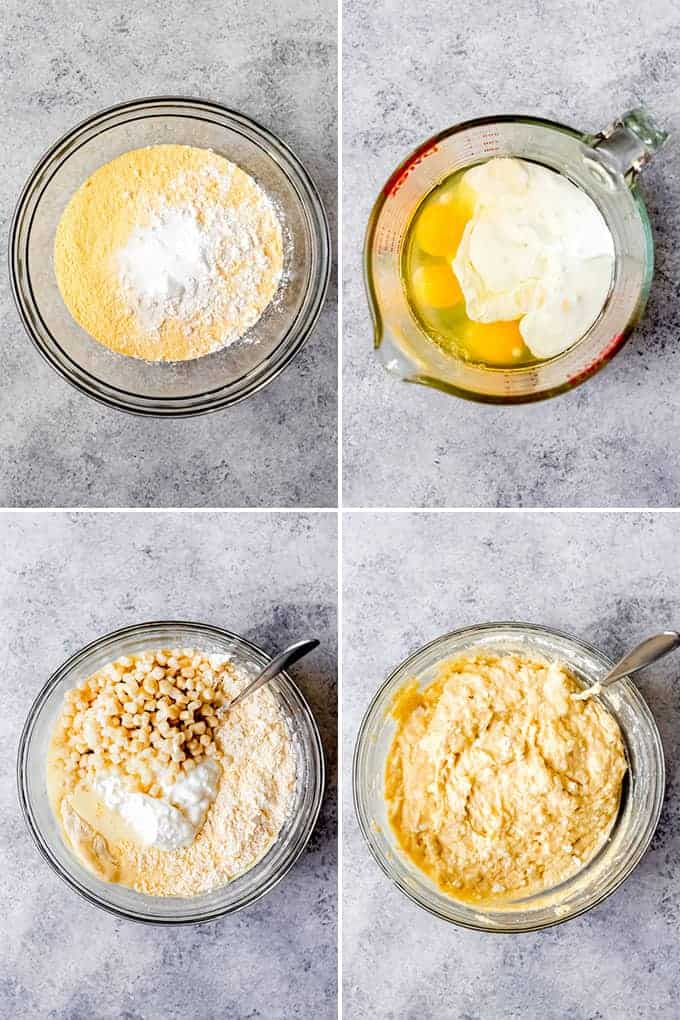 A collage of images showing how to make cottage cheese cornbread.