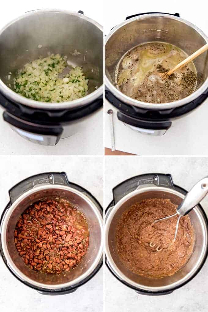 A collage of images showing how to make refried beans in the instant pot.