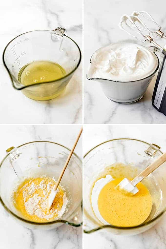 A collage of images showing how egg whites are beaten into stiff peaks to be added to cake batter.