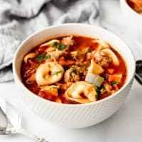 An image of a comforting bowl of tomato basil soup with pasta and sausage.