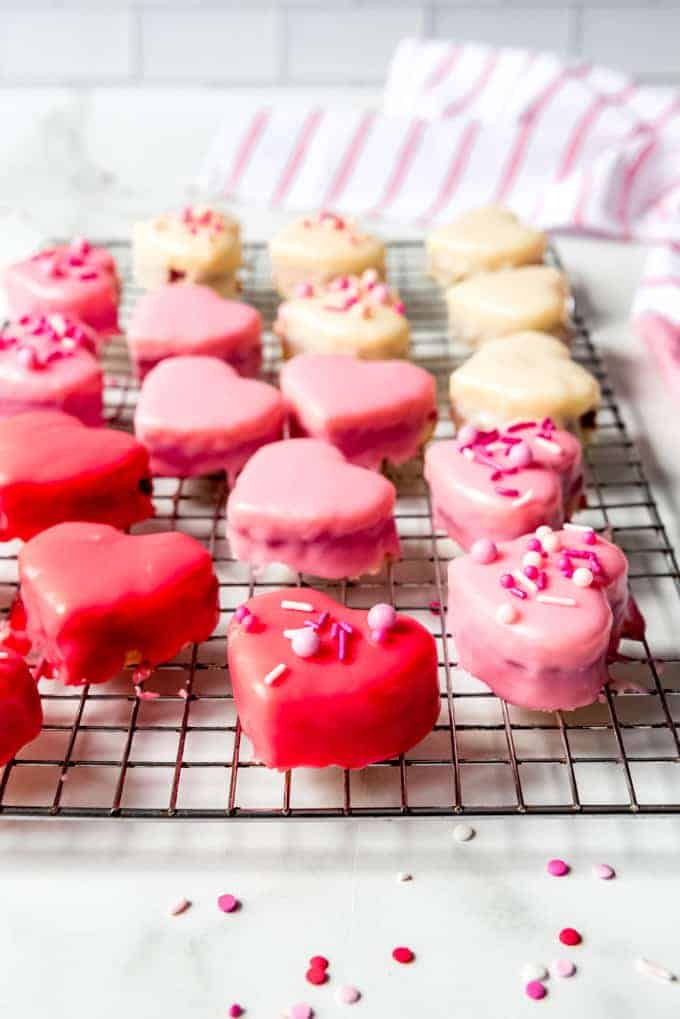 An image of heart-shaped mini cakes.