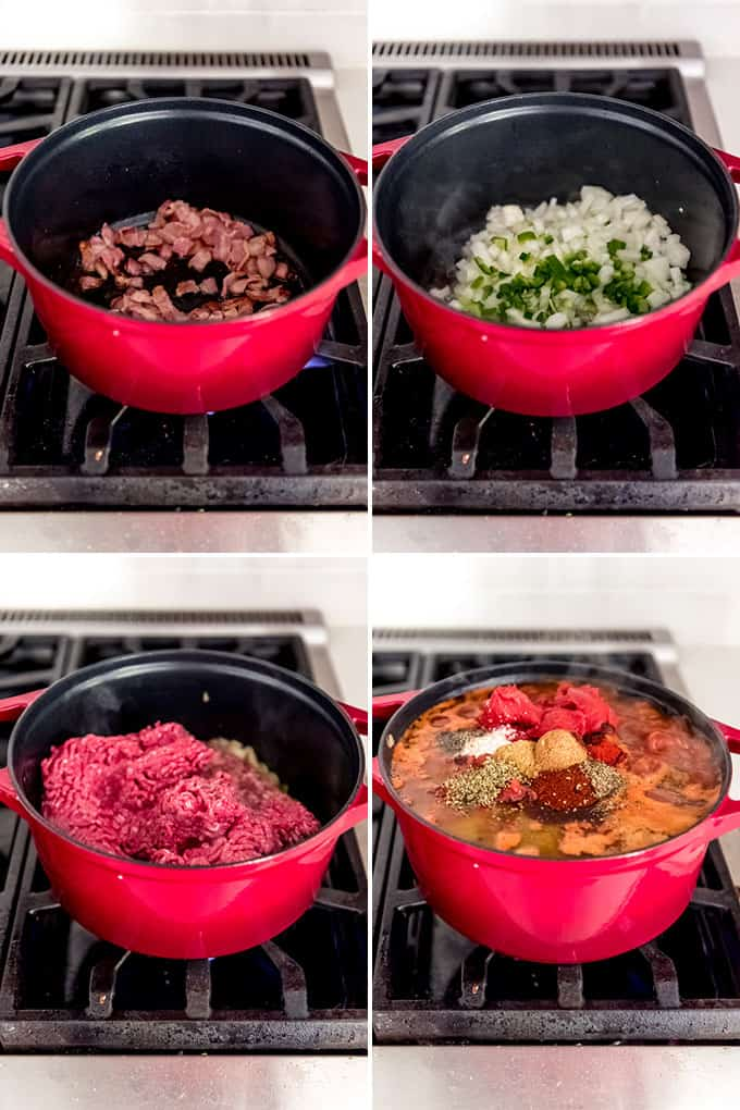 A collage of images showing how to make classic chili.