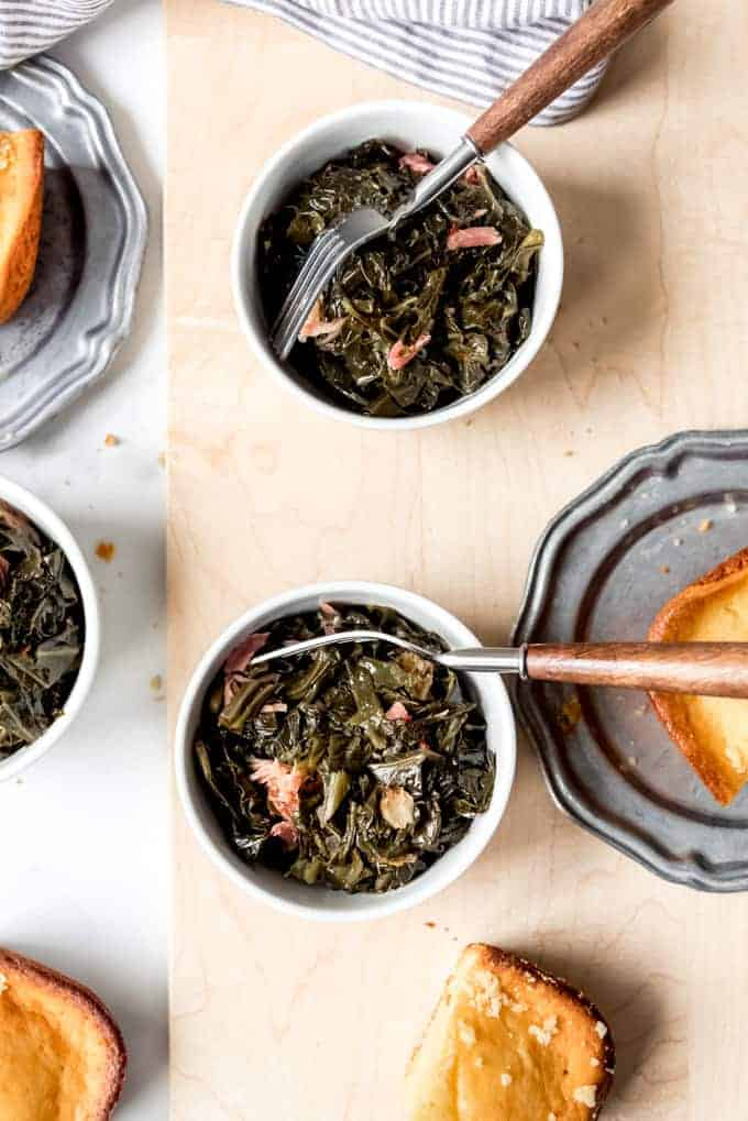 An image of bowls of slowly simmered collard greens.