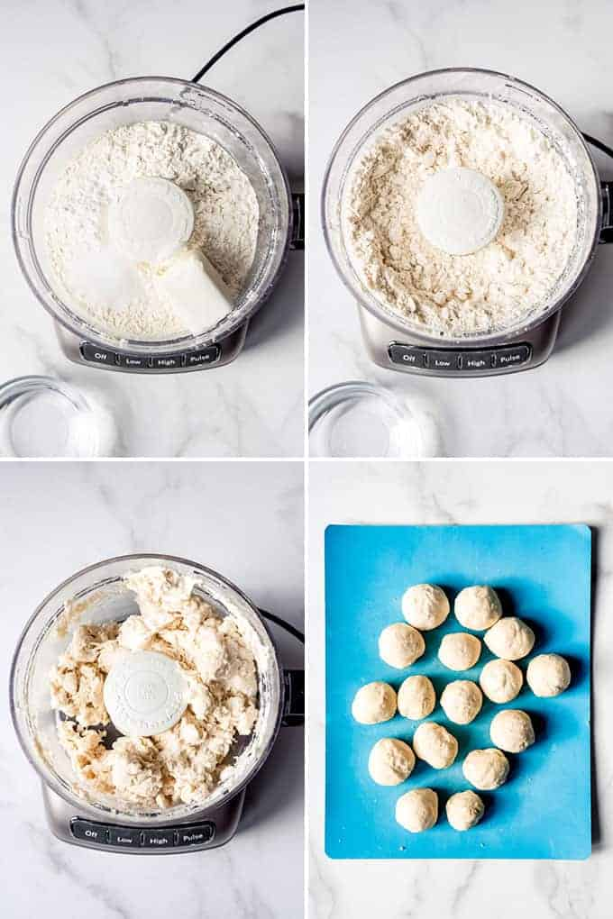 A collage of images showing how to make flour tortillas using a food processor.