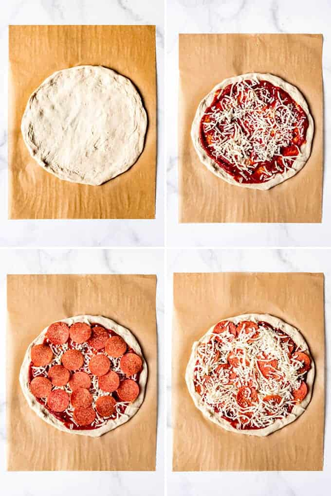 An image showing how to make a pepperoni pizza.