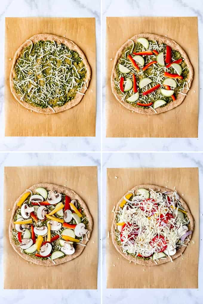 A collage of images showing how to make a vegetarian pizza on a homemade whole wheat crust.