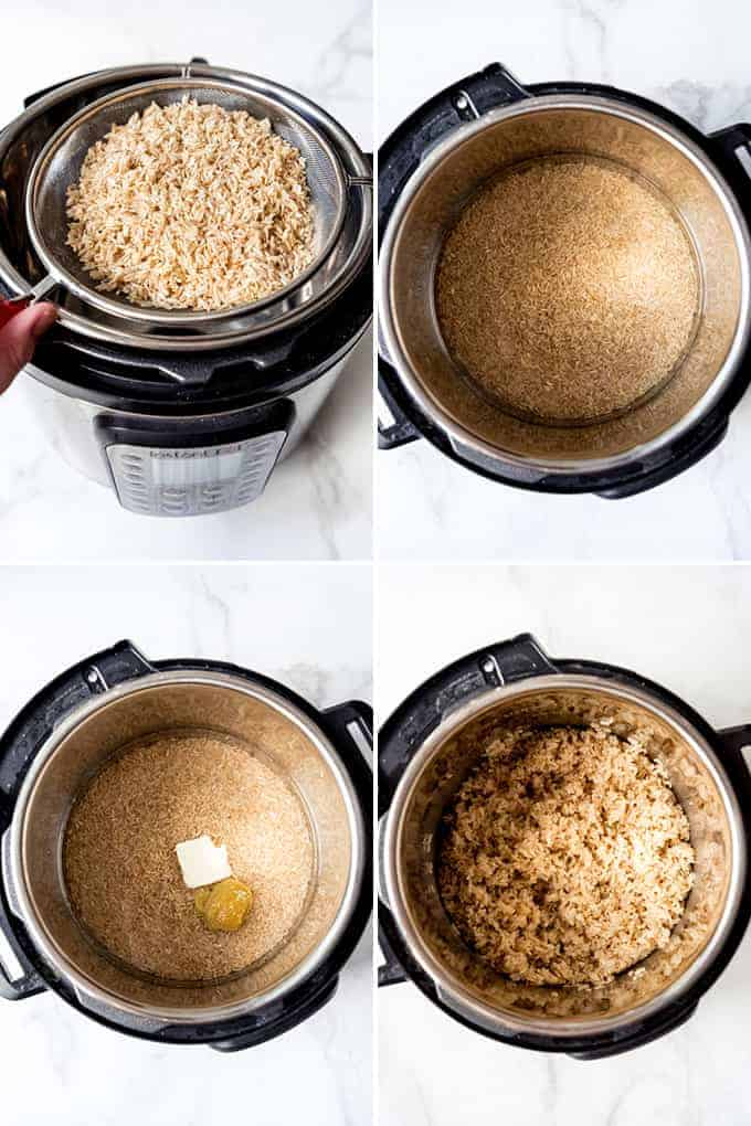 A collage of images showing how to make Instant Pot brown rice.