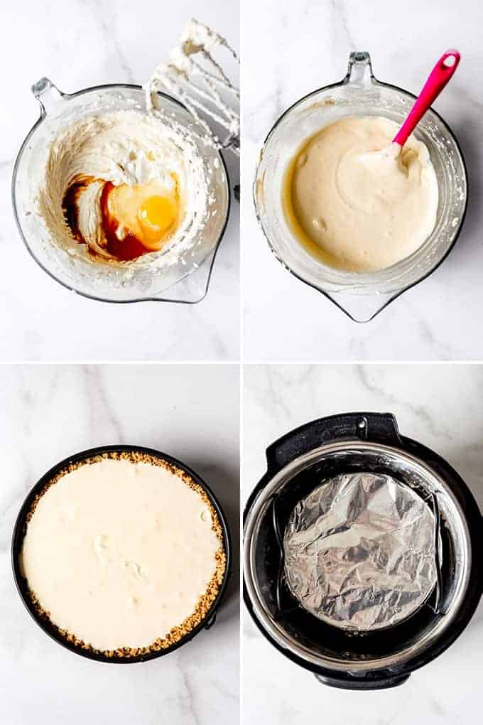 A collage of images showing how to make Instant Pot Cheesecake.