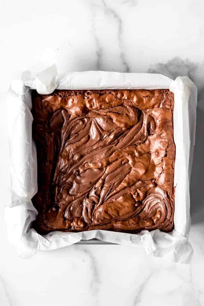 An image of a pan of homemade chocolate hazelnut brownies.
