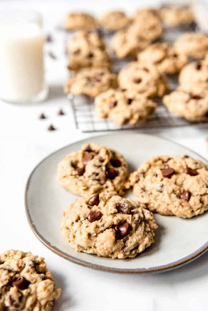 An image of a plate of classic oatmeal cookies with chocolate chips.