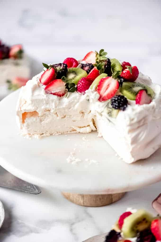 An image showing the fluffy marshmallow-like insides of a pavlova recipe.