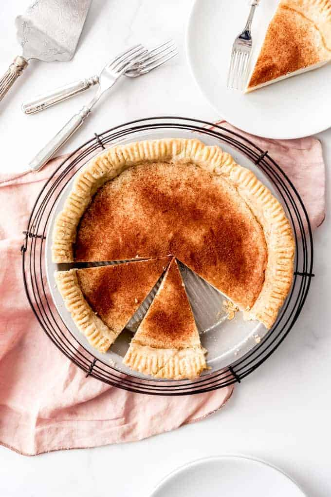 An image of a desperation pie that has been sliced and served on a plate.