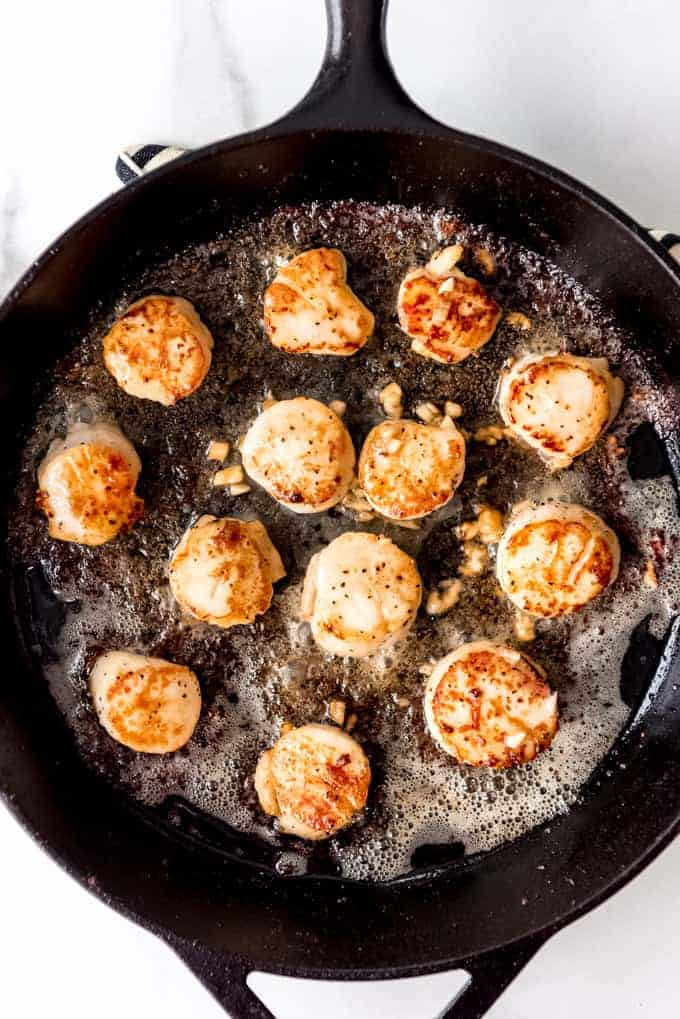 An image of sea scallops being seared in a cast iron skillet with butter and garlic.