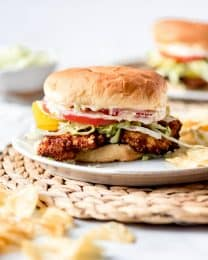 An image of a homemade pork tenderloin sandwich.