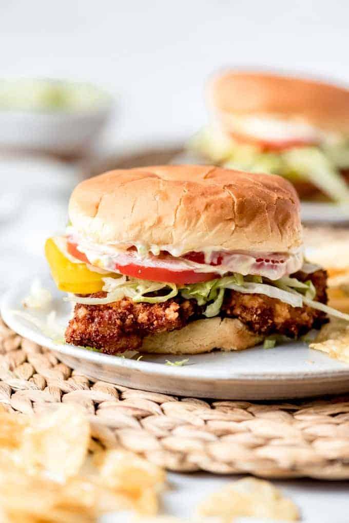 An image of a homemade pork tenderloin sandwich.