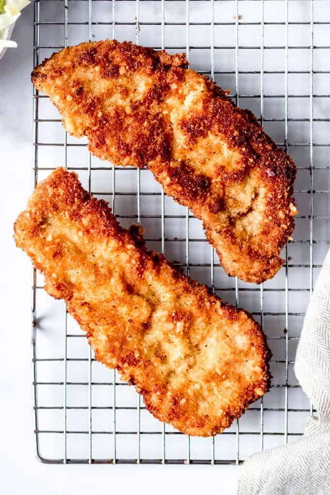 An image of crispy breaded and fried pork tenderloin.