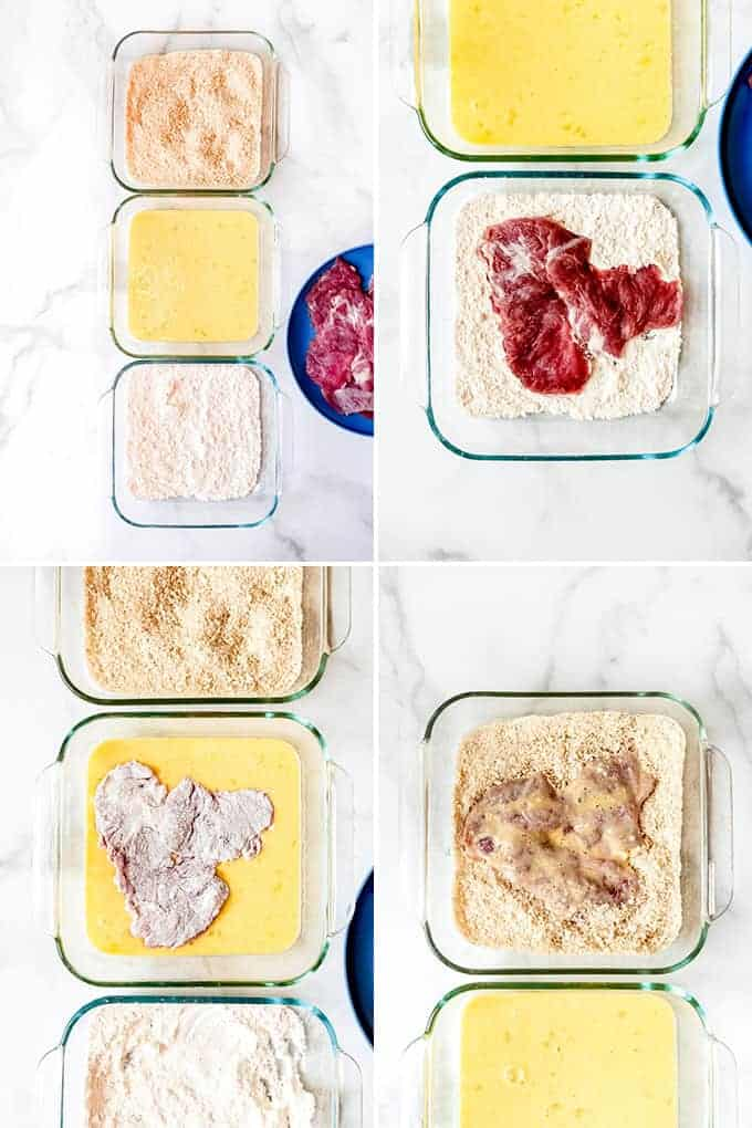 A collage of images showing how to make breaded pork tenderloin for sandwiches.