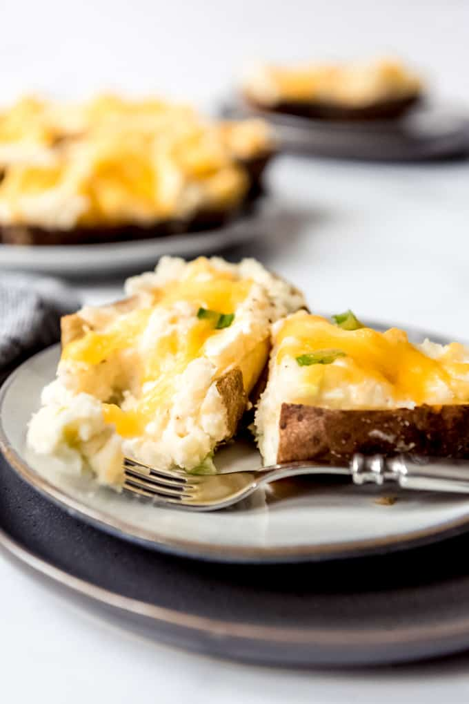 An image of cheesy twice baked potatoes.