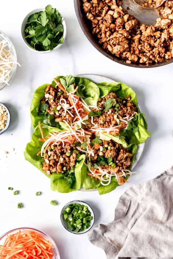 An image of asian lettuce wraps on butter lettuce.
