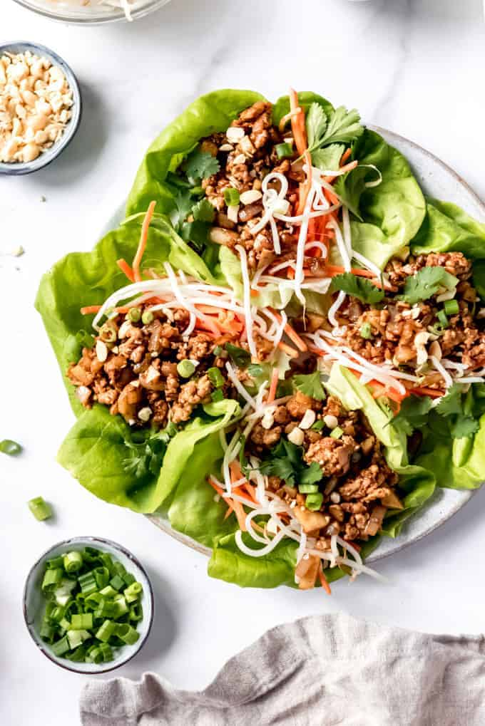 An image of healthy Asian lettuce wraps made with ground chicken.