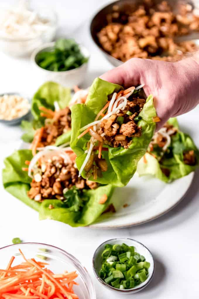 An image of an Asian chicken lettuce wrap being held in a hand.