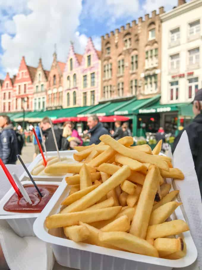 An image of french fries and mayo in Belgium.