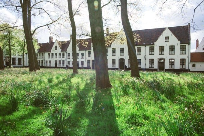 An image of the beguinage in Bruges.