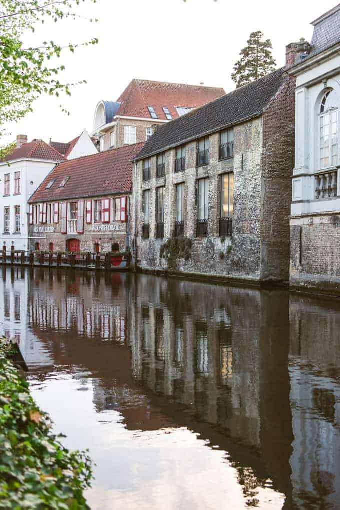 An image of homes along a canal in Belgium.