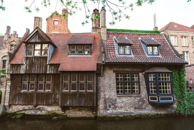 An image of an old timbered home in Bruges, Belgium.
