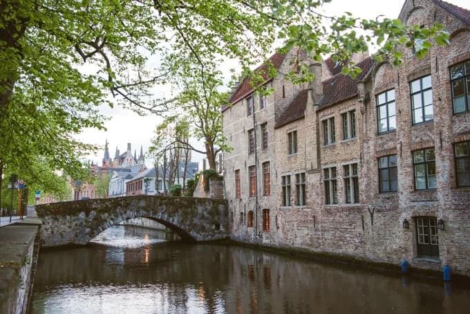 An image of buildings along a canal in medieval Bruges.