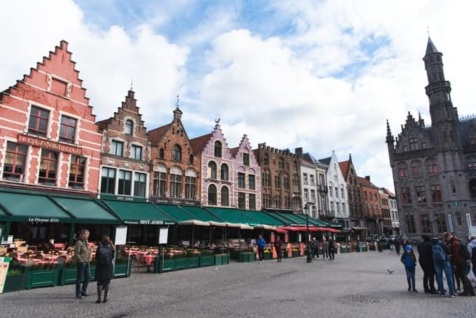 An image of the buildings in Grote Market square in Bruges, Belgium.