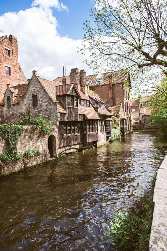 An image of historic timbered homes in Bruges, Belgium.