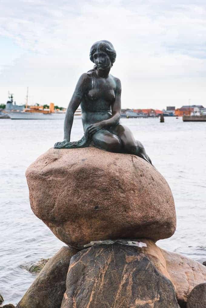 A sculpture of the Little Mermaid in Copenhagen harbor.