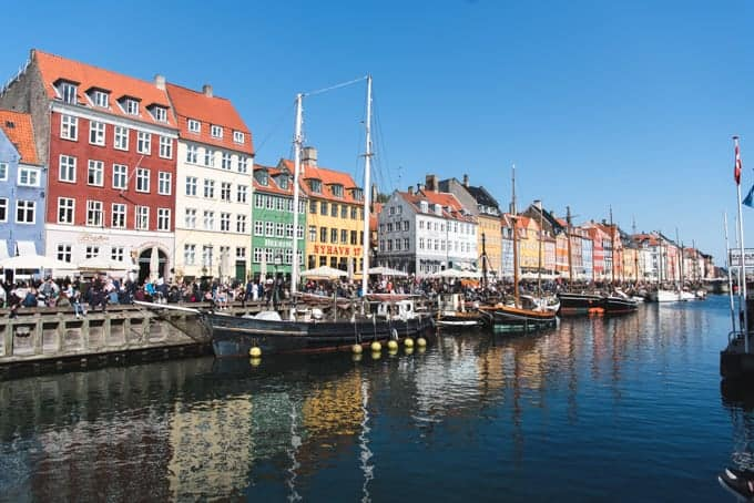 Ships in the canal at Nyhavn.